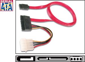 SATA Kabel  0,50m + Stromvers.,Inkl. Stromversorgung 4pol.
