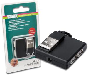 USB Hub  4PORT USB 2.0,Schwarz, Hot-Swap