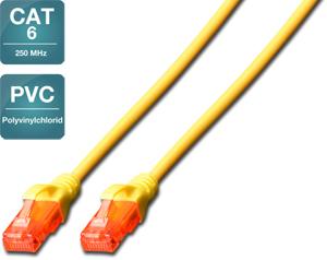 Patchk.Cat.6  1m U/UTP GELB,Premium Line AWG26/7