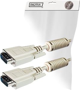 DIGITUS VGA Monitor Anschlusskabel 3m HD DSUB St/St bulk beige AWG28
