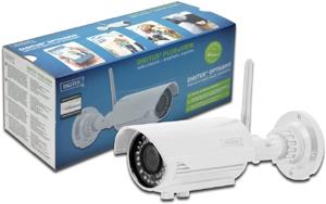 DIGITUS IP Kamera OptiVario W-LAN outdoor Tag + Nacht  PoE weiss 1600x1200 H.264 inkl. 2GB Micro SD QR-Code Registrierung