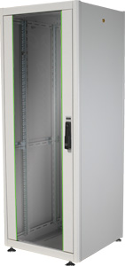 19 Schrank 32HE Glastür,H1560 x B600 x T600mm, RAL7035