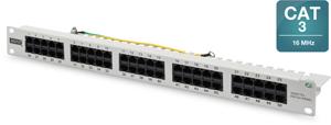 ISDN Patchpanel, 50xRJ45,19\ 1HE, RAL7035, UTP 3-6, 4-5