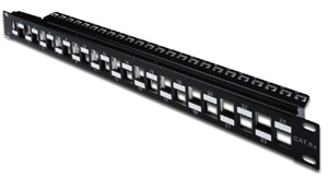 Patchpanel Modular 24port 1HE,19\ 1HE, RAL9005, shielded v.