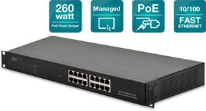 PoE Switch, 16x10/100,19 Rackmount, Managebar
