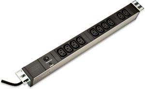 Kaltger�tedosenleiste 10fach,�berlastschutz, 10x IEC C13