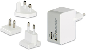 USB Travel Charger, 2x USB,5V/2,5A, 3 Stecker, wei�