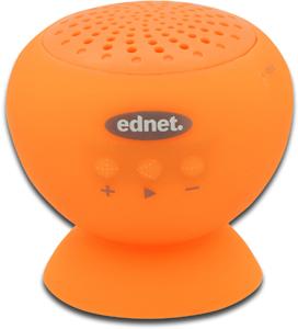 EDNET Bluetooth 4.0 Lautsprecher Sticky speaker mit Freisprecheinrichtung Saugnapf Halterung wasserfest IPX5 orange