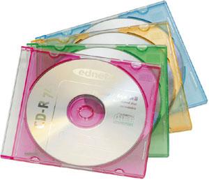CD Leerh�llen, Slim, 20er Pack,je 5x Rot,Gr�n,Gelb,Blau
