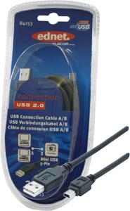USB KAB. A/STB/ST Mini5 2m,USB 2.0, schwarz