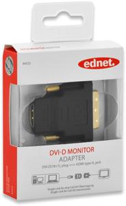 Adapter HDMI A BU DVI D ST,Goldk., FullHD, schwarz