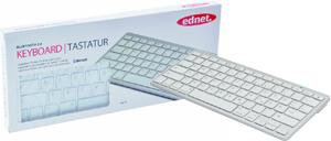 EDNET Bluetooth Tastatur 3.0 Aluminium-Optik mit weissen Tasten bis 10m (DE)