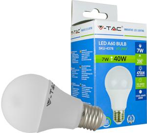 LED Bulblight E27  7W Kaltwei�,SMD Chip, 470lm, 200�