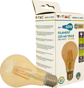LED Bulblight E27  8W Warmweiß,720lm, 300°, Amber Design, A67