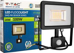 LED Fluter 20W Warmweiß IP44,Beweg.melder, schwarz/silber