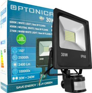 LED Fluter 30W Warmwei� IP66,Beweg.melder, schwarz, SMD