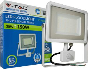 LED Fluter 30W Warmweiß IP44,Beweg.melder, Weiß