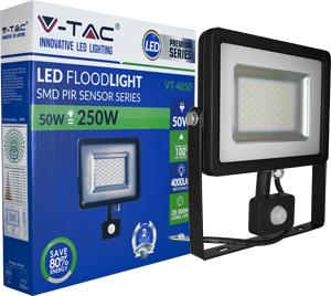 LED Fluter 50W Kaltweiß IP44,Beweg.melder, schwarz/silber