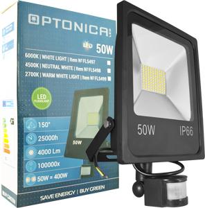 LED Fluter 50W Warmweiß IP66,Beweg.melder, schwarz, SMD