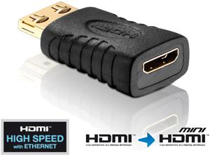 Adapter HDMI A ST- Mini C BU,Goldkontakte, schwarz