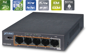 PoE Switch  5x10/100,4xPoE und 1x LAN; Desktop
