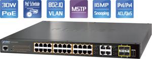 PoE Switch, 24x10/100/1000,4x1000Mb SFP Ports, 220Watt