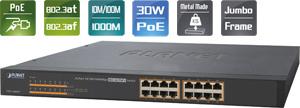 PoE Switch, 16x10/100/1000,802.3at; max. 220Watt